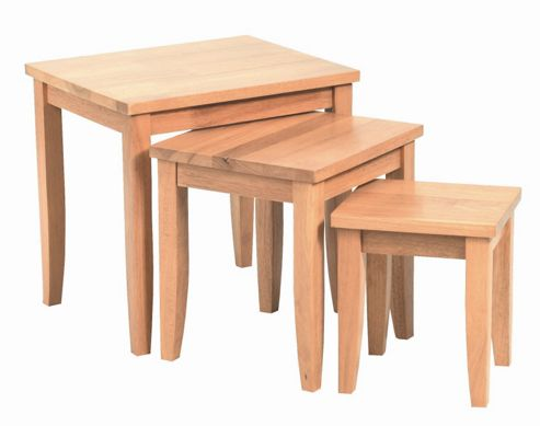 Home Zone Beech Occasional Nest of Three Tables