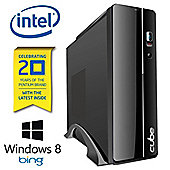 Cube Slim Bing Series Desktop PC with Microsoft Windows 8.1 Bing CSLIMDC-BING Intel Pentium K Dual Core 3.2Ghz 20th Aniversary Processor