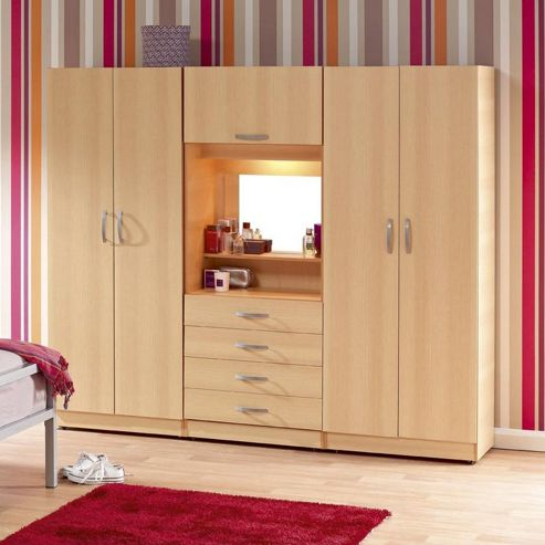 Ideal Furniture Budapest 4 door Wardrobe with drawers - Walnut
