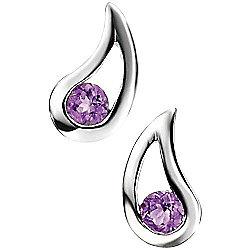 Amethyst Curved Teardrop Stud Earrings