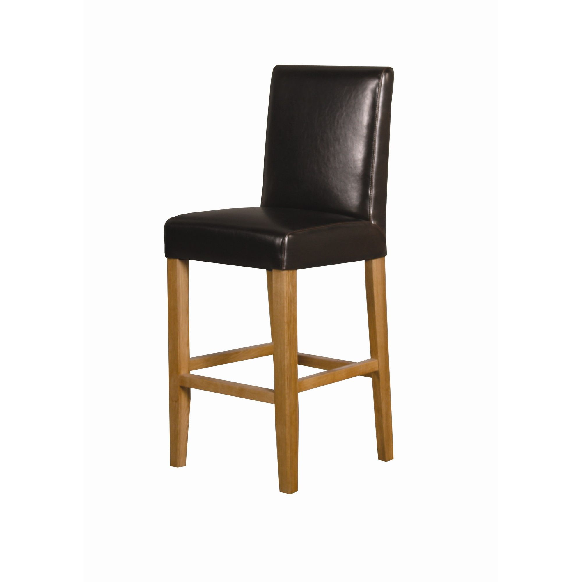 Furniture Link Tony Bar Chair in Brown Leather / Oak (Set of 2) at Tesco Direct