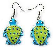 Funky Wooden Turtle Drop Earrings (Light Green & Blue) - 4.5cm Length