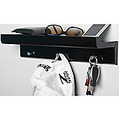 Oakley - Wall Mounted Organiser Shelf With 3 Key / Coat Hooks - Black