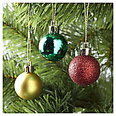 Tesco Mini Christmas Baubles Traditional, 24 Pack