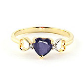 QP Jewellers Diamond & Sapphire Trinity Heart Ring in 14K Gold