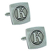 Antiqued Silver Plated Initial - K Cufflink - Single