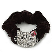 Rhodium Plated Swarovski Crystal 'Kitty With Pink Flower' Pony Tail Black Hair Scrunchie - Clear
