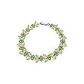 QP Jewellers 8in Peridot & Opal Butterfly Bracelet in 14K White Gold