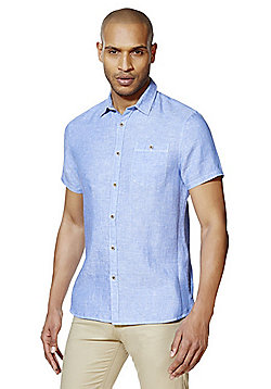 F&F Contemporary Fit Short Sleeve Linen Shirt - Chambray blue
