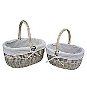 Wicker Valley Lined Hollander in Antique Wash (Set of 2)