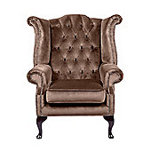 Snug City Queenanne Chair Crushed Velvet Chocolate Chesterfield Sofa, Made In the UK.