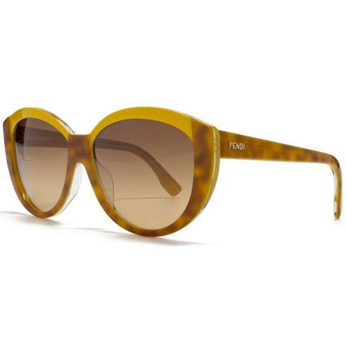 Fendi Sunglasses Two Tone Cateye in Yellow and Light Havana.