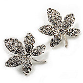 Crystal Leaf Stud Earrings (Silver Tone)