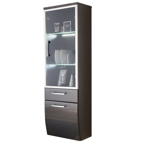 Posseik Rima 30 x 40cm Tall Sloping Bathroom Side Cabinet with Glass Front - Anthracite