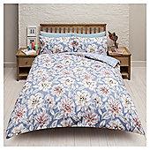 Paloma Floral Check Reversable Double Duvet Set, - Blue