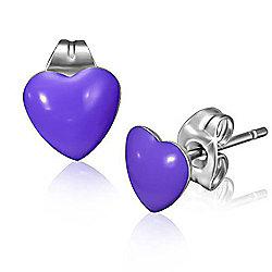 Urban Male Purple Resin & Stainless Steel Men's Heart Stud Earrings 7mm