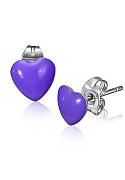 Urban Male Purple Resin & Stainless Steel Men's Heart Stud Earrings 7mm