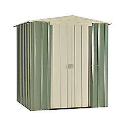 Store More Mist Green Lotus Metal Apex Shed, 6x5ft