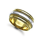 Jewelco London Bespoke Hand-Made 18 carat Yellow & White Gold 10mm Mill Grain Wedding / Commitment Ring,