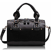 Designer Black Studded Barrel Tote Fashion Handbag