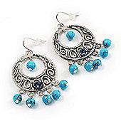 Burn Silver Turquoise Bead Hoop Earrings - 5cm Drop