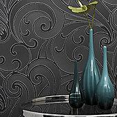 Graham & Brown Saville Premier Wallpaper - Charcoal