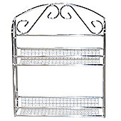 Wire - Two Tier Metal Kitchen Spice Rack / Shelf - Silver