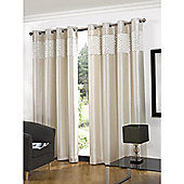 Hamilton McBride Glitz Lined Eyelet Cream Curtains - 66x54 Inches (168x137cm)