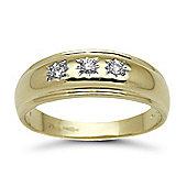 9 Carat Yellow Gold 12pts Gents 3 Stone Diamond Ring