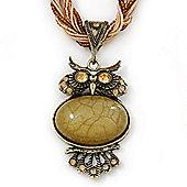 Vintage Bead 'Gold Owl' Pendant Necklace In Antique Gold Metal - 38cm Length/ 5cm Extender