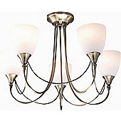 The Lighting & Interiors Group Nottingham Five Light Chandelier - Frosted Glass - Antique Brass