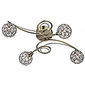 Elegant Modern Antique Brass Flush Ceiling Fitting with 4 Arms and Beaded Shades