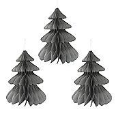 Set of Three Grey Paper Honeycomb Christmas Tree Hanging Decorations