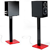 Norstone Esse Pair of Speaker Stands in Red and Black