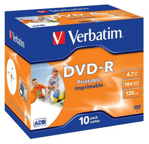 Verbatim 4.7GB 16X DVD-R Disc, 10-pack