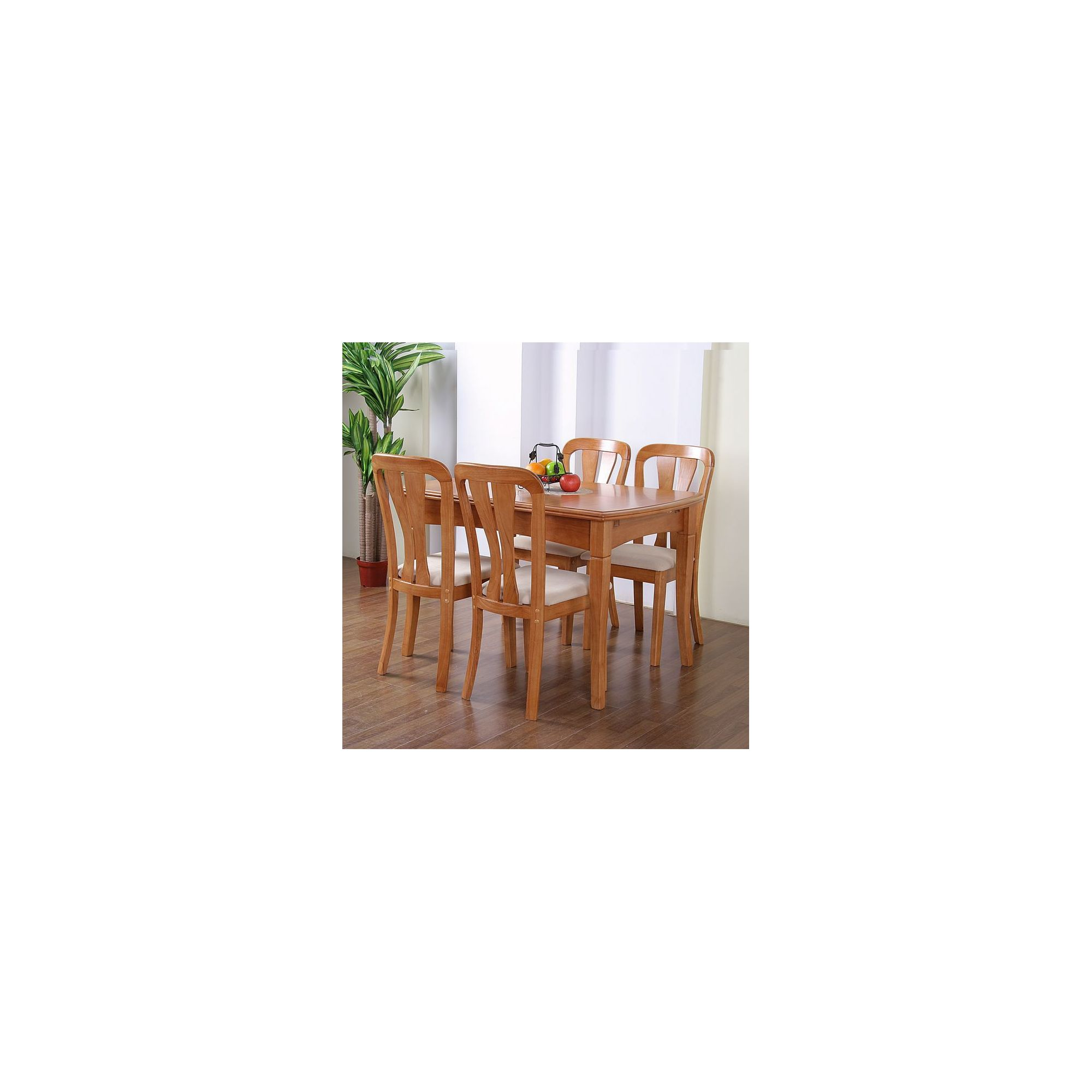G&P Furniture Windsor House 5-Piece Grantham Extending Dining Set with Slatted Back Chair - Maple at Tesco Direct