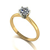 18ct Gold 5.5mm Round Brilliant Moissanite Single Stone Ring