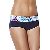 F&F Magic Floral Print Waistband Bikini Shorts - Blue
