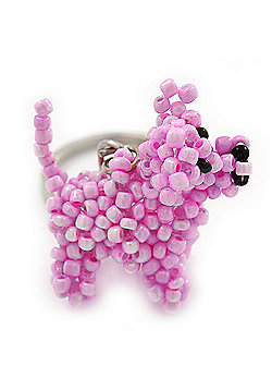 Baby Pink Glass Bead Scottie Dog Keyring/ Bag Charm - 8cm Length
