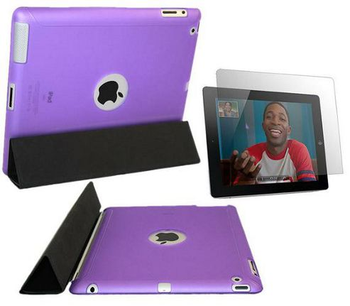 Purple Smart ProGel Skin Case with Logo Cut Out & Screen Protector - Apple iPad 2 16gb 32gb 64gb (Works with Apple Smart Cover)