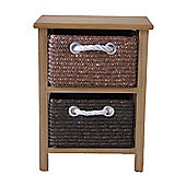 Wicker Valley Unit with 2 Basket - Natural