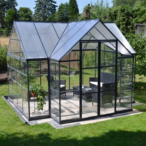 Palram Victory Orangery 12' x 10' - Dark Grey Greenhouse - Polycarbonate and Aluminium Frame