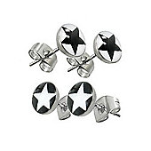 Urban Male Men's Two Pair Set Black & White Star Design Stud Earrings