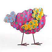 Recycled Look Standing Metal Garden Bird Ornament In Pink