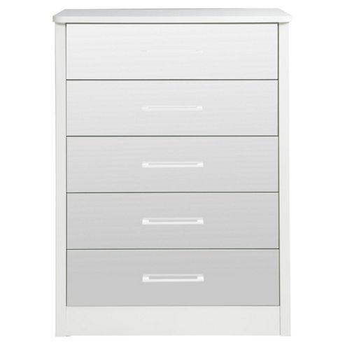 buy keswick 5 drawer mirrored chest white from our chests