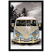VW on the Beach Black Wooden Framed Californian Camper Van Poster