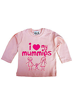 Dirty Fingers I love heart my Mummies Baby LS Top - Pink
