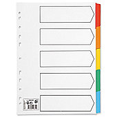 5 Star Index 230 micron Card with Coloured Mylar Tabs 5-Part A4 White