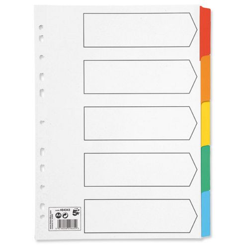 5 Star 230 micron 5-Part A4 Index Card with Coloured Mylar Tabs White