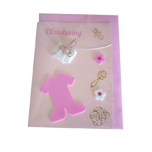 Christening Card - Pink Romper